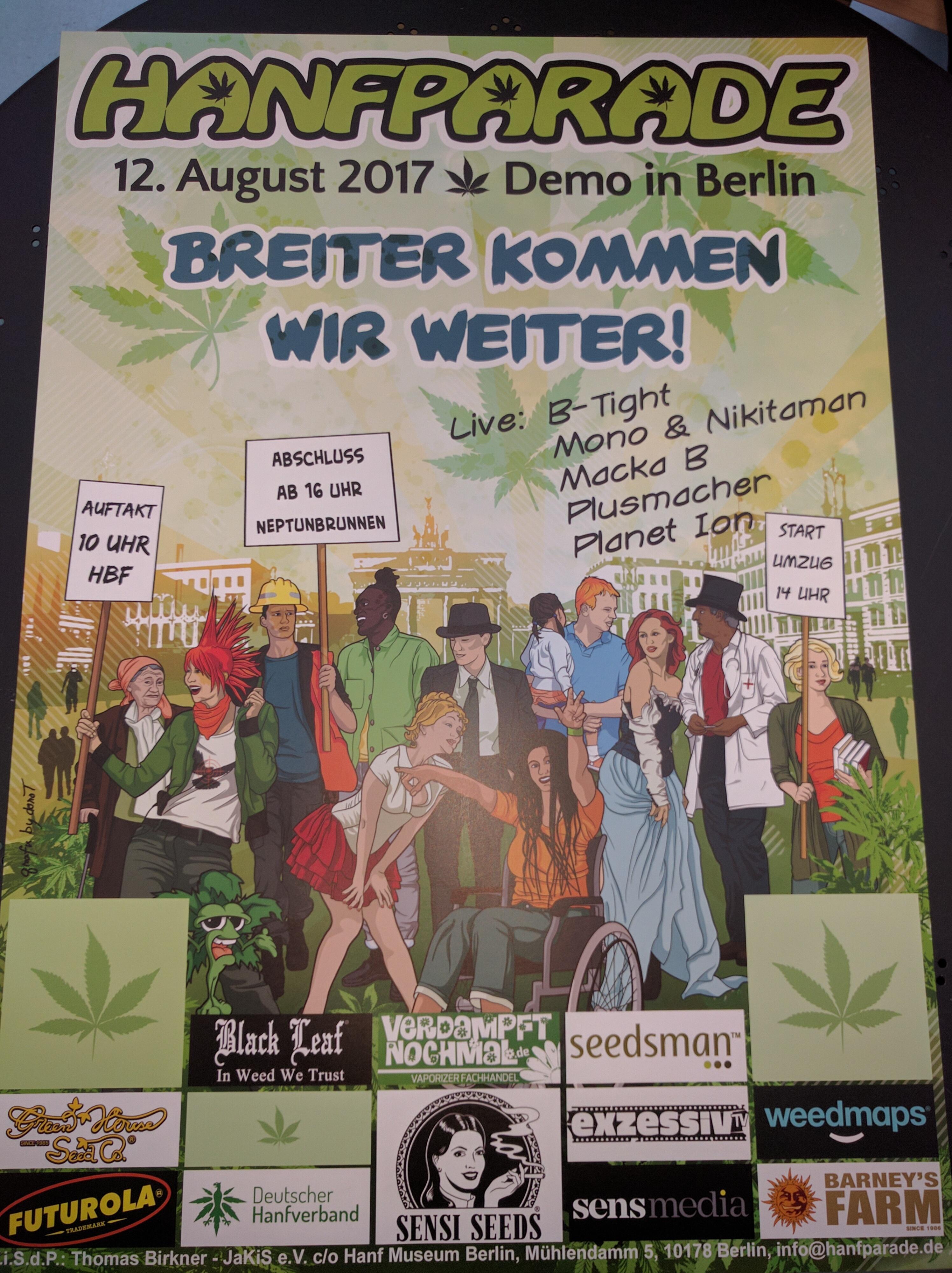 Hanfparade 2017 Poster Flyer Und Aufkleber Gratis Im Dhv